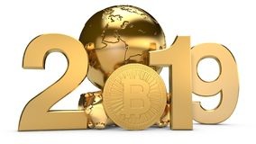 3D illustration of 2019 and the Golden planet Earth with bitcoin cryptocurrency coins. The idea for the calendar, a symbol of the royalty free illustration