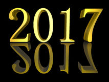 3D illustration Golden text New Year 2017  Royalty Free Stock Photo