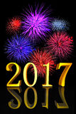 3D illustration Golden text New Year 2017 fireworks. 3D illustration Golden text New Year 2017 with real fireworks Stock Images