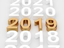 Golden 2019 year sign. Soft focus. 3d illustration of golden 2019 year sign. Soft focus vector illustration