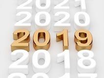 Golden 2019 year sign. Soft focus. 3d illustration of golden 2019 year sign. Soft focus Stock Image