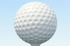 3D illustration Golf ball and ball in grass, close up view on tee ready to be shot. Golf ball on sky background. Stock Photos