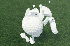 3D illustration Golf ball Scatters to pieces after a strong blow and ball in grass, close up view on tee ready to be Royalty Free Stock Photography