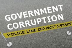 GOVERNMENT CORRUPTION concept. 3D illustration of GOVERNMENT CORRUPTION title on the ground in a police arena Royalty Free Stock Image