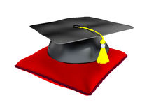 3D Illustration of Graduation Hat On A Cushion Royalty Free Stock Images