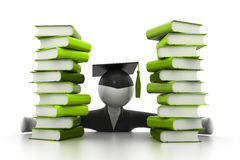 3d illustration of. Graduation student and books Royalty Free Stock Photo