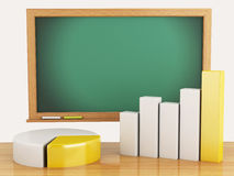 3d illustration. Graph, charts and blackboard. business concept Royalty Free Stock Images