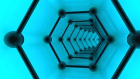 3D illustration of graphene meshes, tunnel of molecules on graphene, the image of a superconductor on a blue background. The idea stock illustration