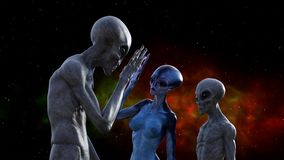 Illustration of a gray alien touching hands with a blue extraterrestrial in space while a third watches. 3d illustration of a gray alien touching hands with a royalty free illustration