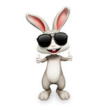 Gray bunny with best luck sign Royalty Free Stock Photography