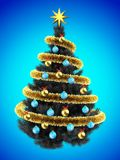 3d blank. 3d illustration of gray Christmas tree over blue with blue balls and frippery Royalty Free Stock Photos