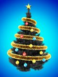 3d blank. 3d illustration of gray Christmas tree over blue with colorful balls and frippery Royalty Free Stock Photos