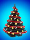 3d tinsel. 3d illustration of gray Christmas tree over blue with silver balls Stock Photo