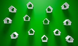 3D Illustration - Green Background with a few white house   Stock Images