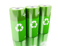 3d Green battery with recycling symbol . 3d illustration. Green batteries with recycling symbol. Eco energy concept. Isolated white backgroud Stock Images