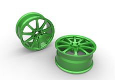 3d illustration of green car rims Stock Photos