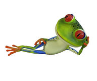 3d illustration of a green cartoon frog laying down. Royalty Free Stock Photography