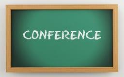 3d text Conference on chalkboard. 3d illustration. Green chalkboard. Conference, business concept Stock Image