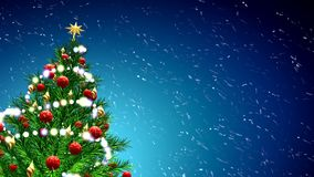 3d illustration of green Christmas tree over blue background with snowflakes and red balls Stock Image