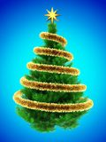 3d blank. 3d illustration of green Christmas tree over blue with  and frippery Stock Photo
