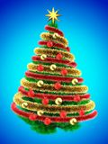 3d tinsel. 3d illustration of green Christmas tree over blue with red balls and frippery Royalty Free Stock Photo