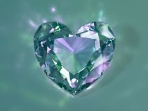 3d illustration. Green crystal heart on a light background