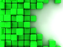 3d illustration of green cubes. Abstract of 3d green  cubes, blocks background Stock Photo