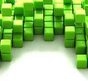 3d illustration of green cubes. Abstract of 3d green  cubes, blocks background Royalty Free Stock Photo