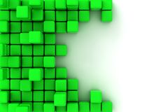 3d illustration of green cubes. Abstract of 3d green  cubes, blocks background Royalty Free Stock Photography