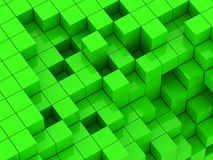 3d illustration of green cubes. Abstract of 3d green  cubes, blocks background Stock Images