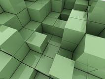 3d illustration of green cubes. Abstract of 3d green  cubes, blocks background Royalty Free Stock Photos