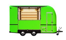 3D illustration of green food truck. Isolated on white background stock photography
