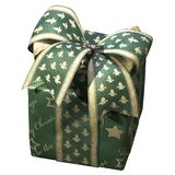 3D illustration of green gift box with a ribbon bow on white background. 3D illustration of green gift box with a ribbon bow on white stock photo