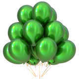 3D illustration of green party helium balloons carnival decoration. 3D illustration of green party helium balloons birthday happy holidays carnival celebrate Stock Photography