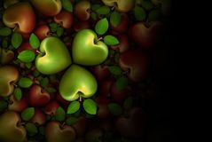 Green and Red Apple Clovers 3D Stock Image