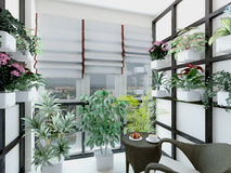 3d illustration of greenhouses in home Stock Image