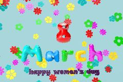 3D illustration of a greeting card with 8 March on a background of colorful flowers. Inflatable inscription from inflatable multicolored letters with falling stock illustration