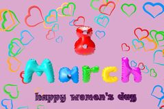 3D illustration of a greeting card with 8 March on a background of colorful hearts royalty free illustration
