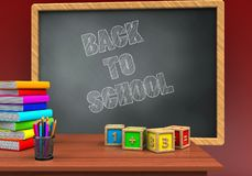 3d math cubes. 3d illustration of grey chalkboard with back to school text and math cubes Stock Images