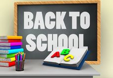 3d white desk. 3d illustration of grey chalkboard with back to school text and opened textbook Stock Photos