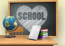 3d grey chalkboard. 3d illustration of grey chalkboard with heart and school text and books stack Royalty Free Stock Image