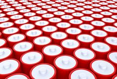 3D Illustration - Group of batteries red silver. A Group of batteries in a row red silver Stock Photo