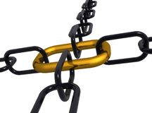3d illustration of a group of black  end gold chain Stock Photography