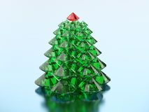 3D illustration group of green diamond christmas tree with a red. Star on a blue background Stock Images
