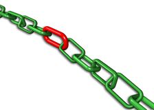 3d illustration of a group of green  end red chain Stock Images