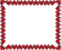 3D illustration group of red diamonds hearts frame. On a white background royalty free illustration