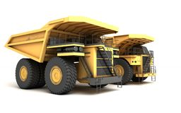 3d illustration. Group of two empty mining dump truck tipper big. Heavy yellow cars. Front side view. Direction from left to right Stock Images