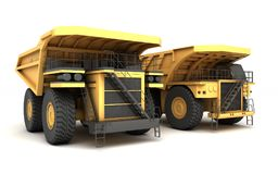 3d illustration. Group of two empty mining dump truck tipper big. Heavy yellow cars. Front side view. Direction from left to right Stock Image