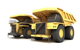 3d illustration. Group of two empty mining dump truck tipper big. Heavy yellow cars. Front side view. Direction from right to left Royalty Free Stock Photos