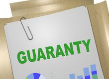 GUARANTY - assurance concept. 3D illustration of GUARANTY title on business document Stock Photography